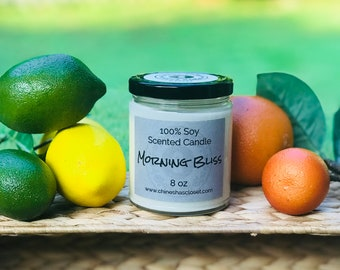 Morning Bliss//Citrus Scented Soy Candle//Highly Scented//Hand Poured//100% Soy Candle//Gifts//Housewarming//Odor Eliminator