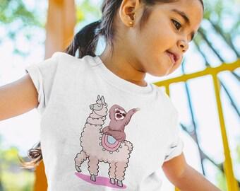 48531cced7dc Happy Sloth and Llama Kid Shirt Cute Tee Children Gift Alpaca Shirt Animal  Lover Graphic Shirt Baby Clothing Llama Gift Trendy Outfit TU1230