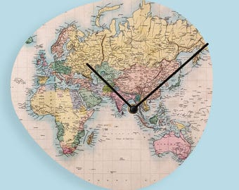 World map clock etsy vintage world map wood clock wooden wall clock world map clock vintage wall clock unique wall clock rustic clock wood wall clock tu1096 gumiabroncs Image collections