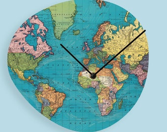 Map clock etsy world map wood clock wooden wall clock world map clock modern wall clock unique wall clock gumiabroncs Images