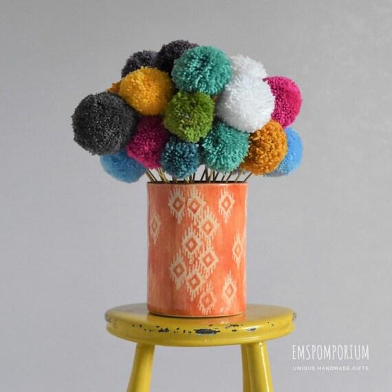 """Bespoke pom-pom flowers 3.5"""" x 3"""