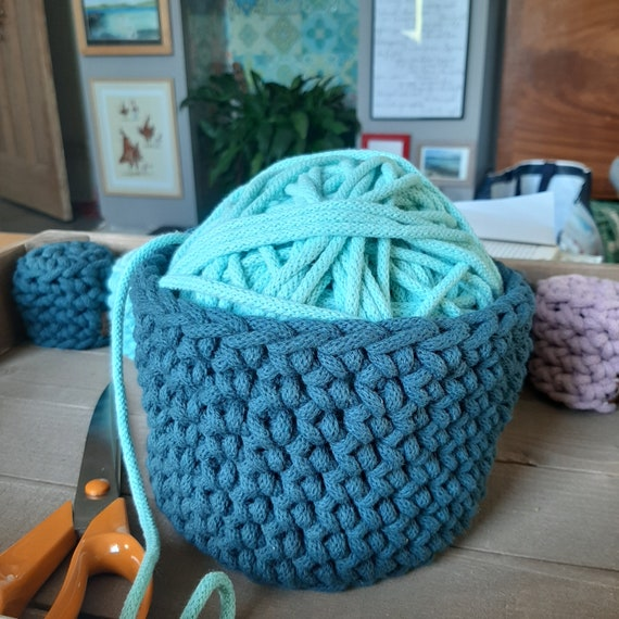 Large rope basket 12cm tall by 15cm wide. Crocheted rope basket. Handmade. Recycled cotton