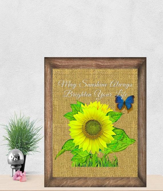 Sunflower Wall Decor Art Sun Flower Etsy