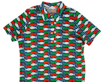 """Vintage 1970s Novelty Fish Print Polo Shirt Rockabilly Style Polyester Mens Top   C 45"""""""