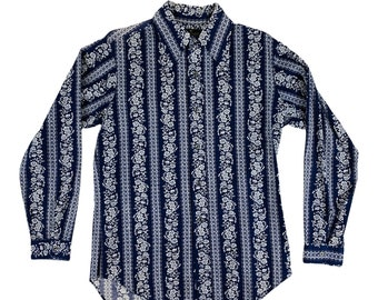 """Vintage 1970s Navy Floral Long Sleeve Shirt Mens Button Down   C 42"""""""