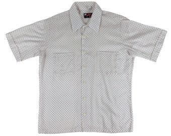 "Vintage 1980s Red Polka Dot Print Shirt Retro Short Sleeve Mens Button Down   C 44"""