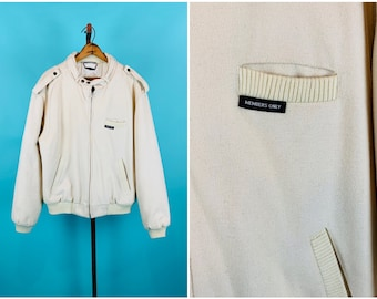 Vintage 1980s Members Only Jacket | Cream Wool Quilted Lining Bomber Jacket | 42