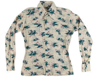 "Vintage 1980s Hummingbird Novelty Print Shirt Mens Button Down   C 46"""