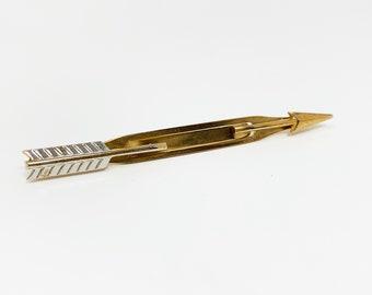 Vintage 1960s Tie Bar | Swank Arrow Silver & Gold Tone Tie Clip