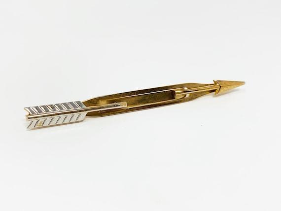 Vintage Tie Clip Tie Bar Crossed Arrow and Sword Gold Tone