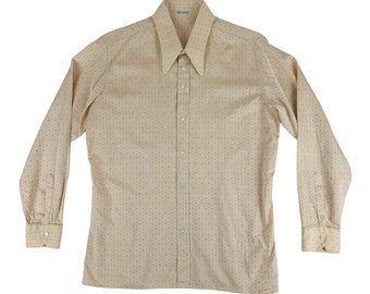 "Vintage 1980s Mens Dress Shirt Peach Don Carlos Pointed Collar Button Down   C 46"""