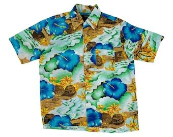 "Vintage 1970s Tropical Hibiscus Shirt VanCort Hawaiian Mens Shirt   C 44"""