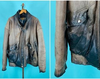 Vintage 1990s Leather Jacket | Worn In Franklin Allen Mens Bomber Jacket | 52