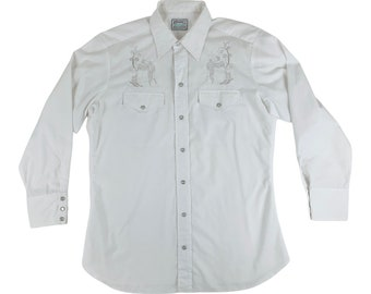 "Vintage 1970s White Western Cowboy Boot Shirt H Bar C Silver Metallic Mens Long Sleeve   C 46"""