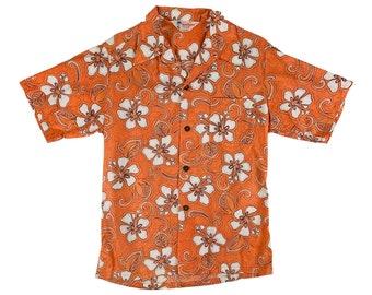 "Vintage 1960s Orange Hawaiian Shirt Mens Island Fashions Hibiscus Print Button Down   C 45"""