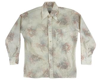 "Vintage 1970s Boho Bird Printed Mens Shirt Male Duds Button Down   C 48"""