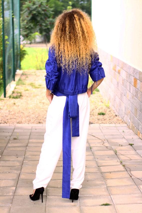 on Silk Top Shirt Belt Front Back Over Indigo Panel Oversize Wrap BUzqqn