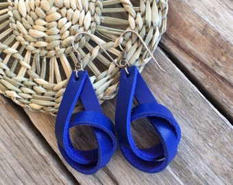 Earrings, knotted, leather, bright blue, original, deep, boho, bohemian, bow, handmade, 925 silver, recycling.