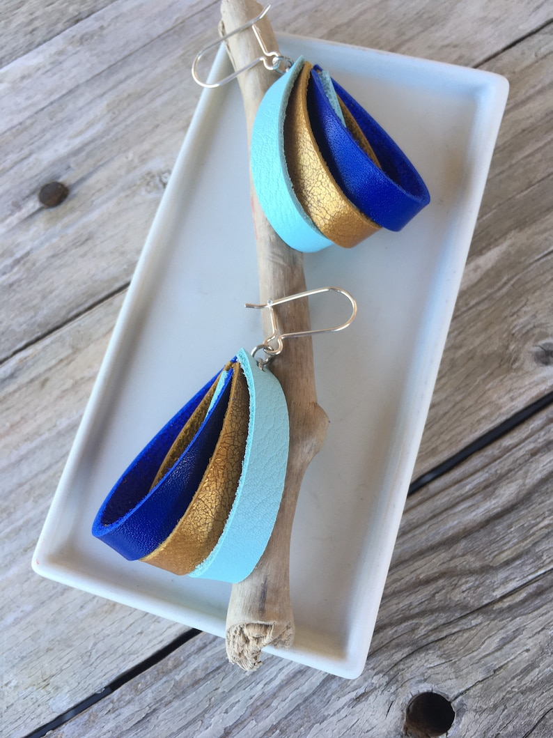 925 silver sky blue original gold and bright blue handmade Trio leather earrings bohemian recycled.