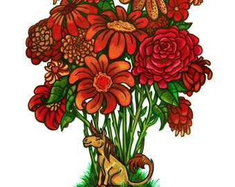 Unicorn Bouquet (ORIGINAL WATERCOLOR PAINTING)