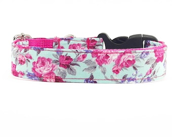 Pink flower on mint, dog collar, dog collar floral, flower, dog collars for girls, dog collars for boys, holiday, summer, spring, pet collar