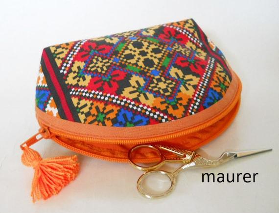 Orange cosmetic bag Makeup pouch bag Ethnic purses Small storage sac Folk  wallet Accessory toiletry bag Zipper pouch Girls lipstick organize c3fc5a6950fc4
