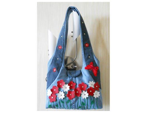 Denim bag with applique flowers summer embroider bag boho etsy