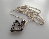 Danish Scrouples oxidised silver and zirconia heart pendant chain necklace, Aarhus