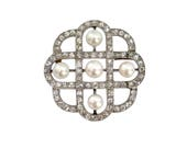 Elegant early 20th century natural pearl and diamond brooch, French c.1910,
