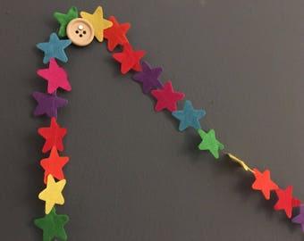 Rainbow star felt garland (1m)