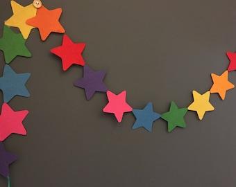 Rainbow star felt garland (1.3m)
