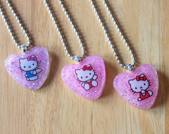 Hello Kitty Kawaii Heart-Shaped Pastel Pink Resin Necklace