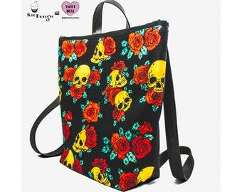 Backpack-Golden Skulls & Roses * One of a kind *