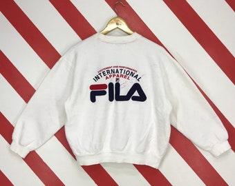 a00640f350a Vintage 90s Fila Sweatshirt Crewneck Fila Sports Pullover Fila Streetwear  Jumper Fila Sportswear Embroidery Big Logo Mens White Size Medium