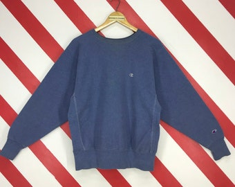 06f03fff55e8 Vintage 90s Champion Sweatshirt Crewneck Champion Reverse Weave Pullover  Streetwear Champion Script Jumper Embroidery Logo Blue Size Large