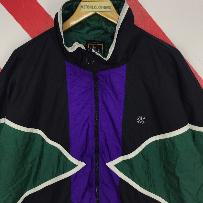 Vintage 90s USA Olympic Jacket Usa Olympic Sportswear Sweater USA Olympic Colourway Windbreaker Olympic Logo Embroidery Colorblock Size XL