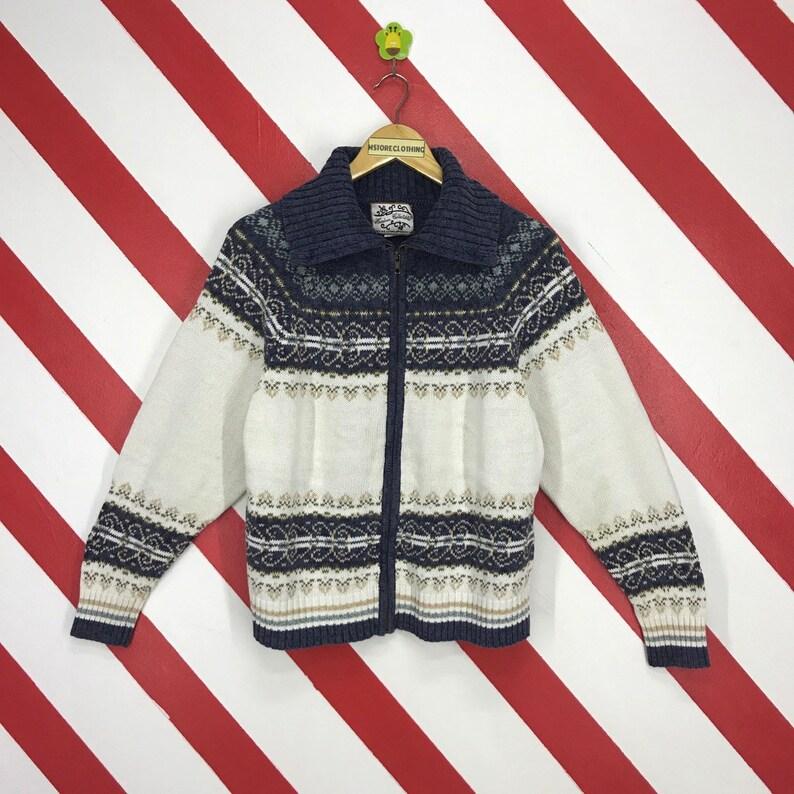 7f1bd76b601 Vintage 90s Navajo Knitwear Navajo Style Knit Sweater Turtleneck Knit Wool  Zipper Jumper Knit Navajo Women Sweater Grey Size Large