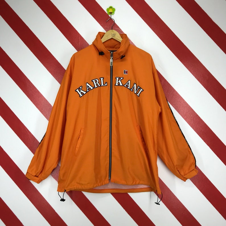 Vintage 90s Karl Kani Side Tape Jacket Sweater Karl Kani Lightweight Hoodie Zip Up Spellout Logo Embroidered Karl Kani Orange Size XLarge