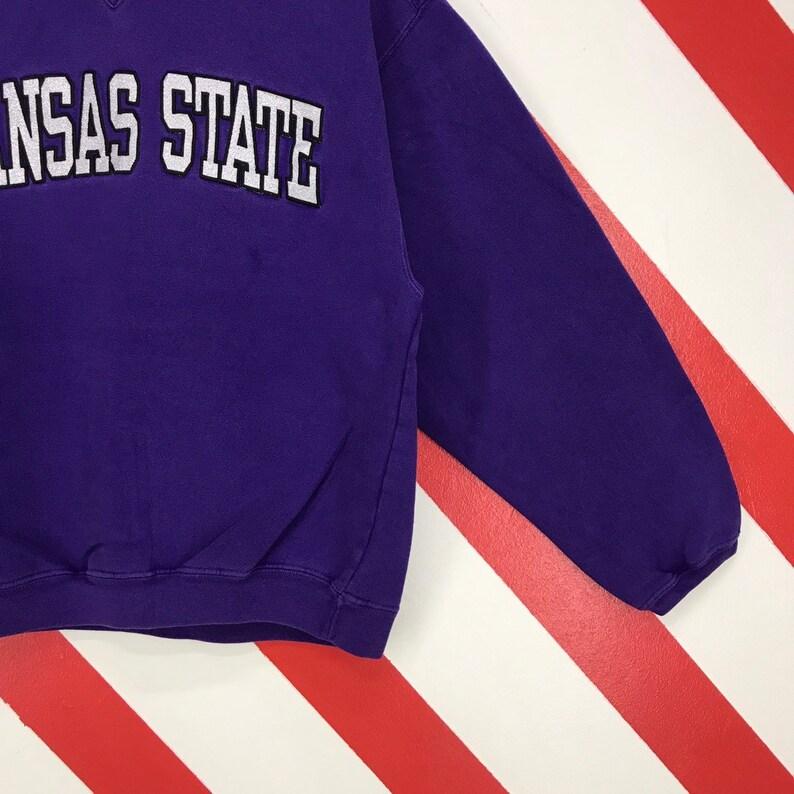 Vintage 90s Kansas State Sweatshirt Crewneck Kansas State University Sweater Pullover Kansas State Jumper Embroidery Logo Blue Size Small