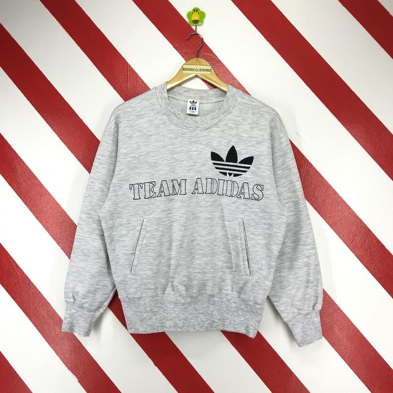 Vintage 90s Adidas Sweatshirt Adidas Trefoil Sweater Adidas Team Spellout Logo Printed Adidas Crewneck Front Pocket Grey Size Medium