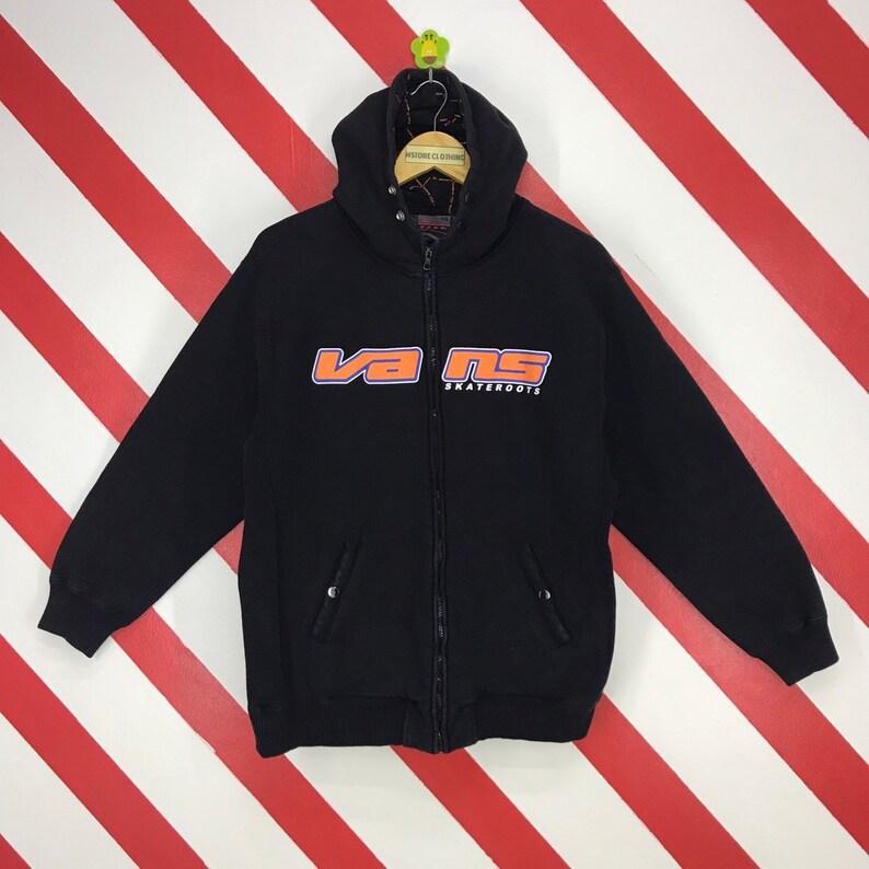 b043ee68 Vintage 90s Vans Hoodie Vans Skateroots Pullover Black Colour Vans  Skateboard Sweater Streetwear Vans Skateboarding Printed Logo Men Size L