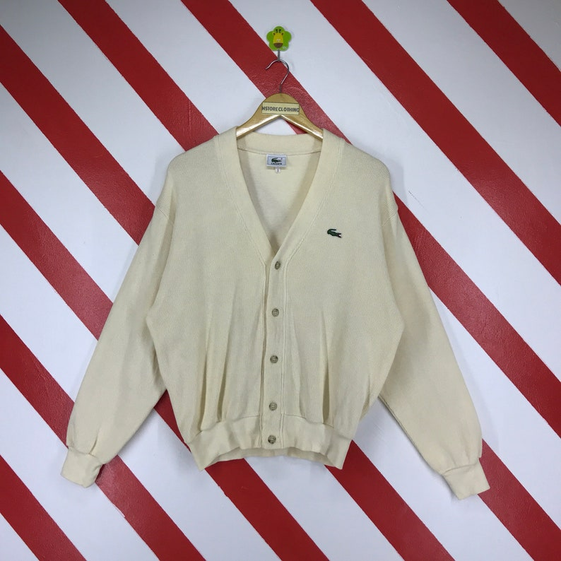 7a692affe4696 Vintage 90s Lacoste Cardigan Lacoste Knitwear Button Down