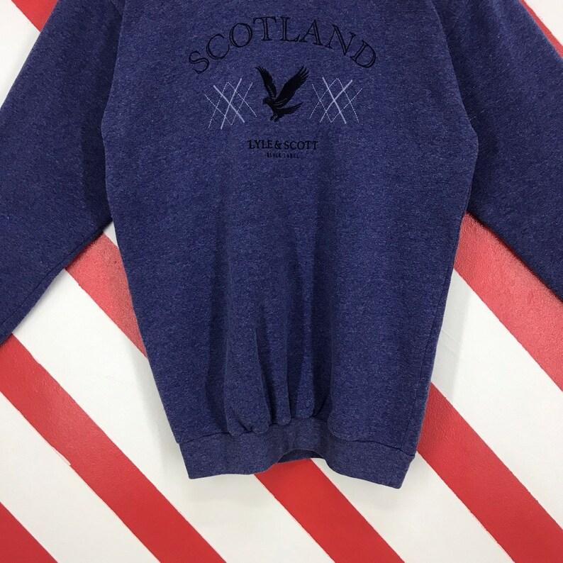 Vintage Lyle And Scott Sweatshirt Crewneck Lyle And Scott Sweater Casual Lyle /& Scott Streetwear Jumper Embroidery Logo Blue Size Large
