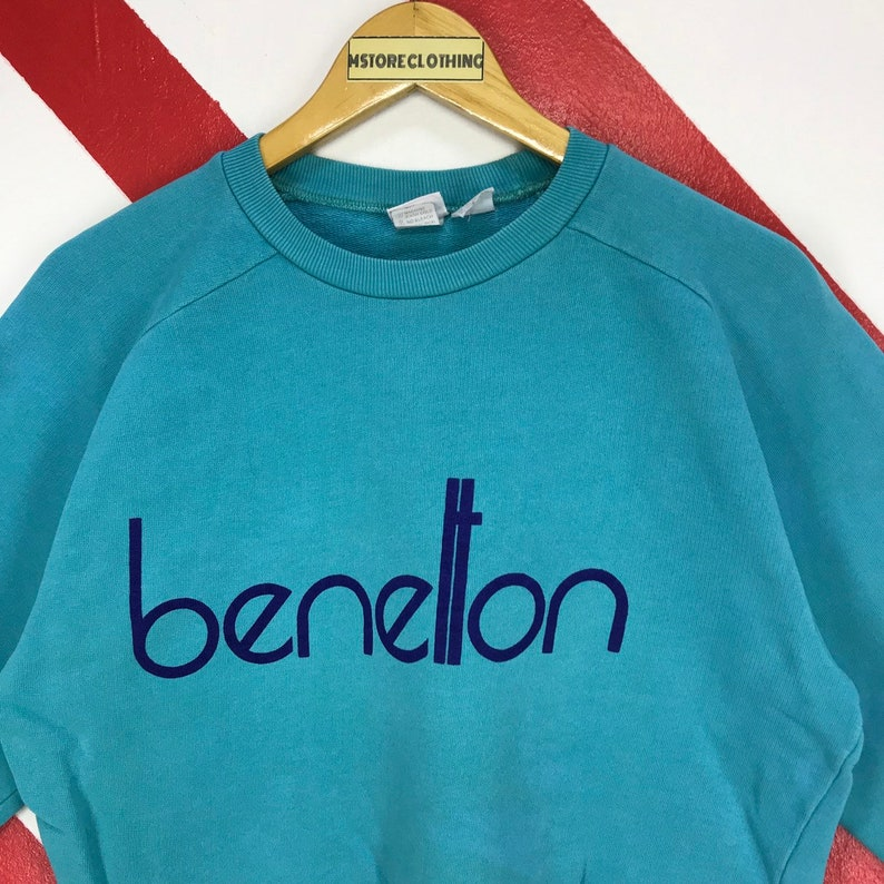 Vintage 90s United Colors Of Benetton Sweatshirt Crewneck Benetton Sweater Benetton Formula 1 Jumper Print Logo Blue Size Small