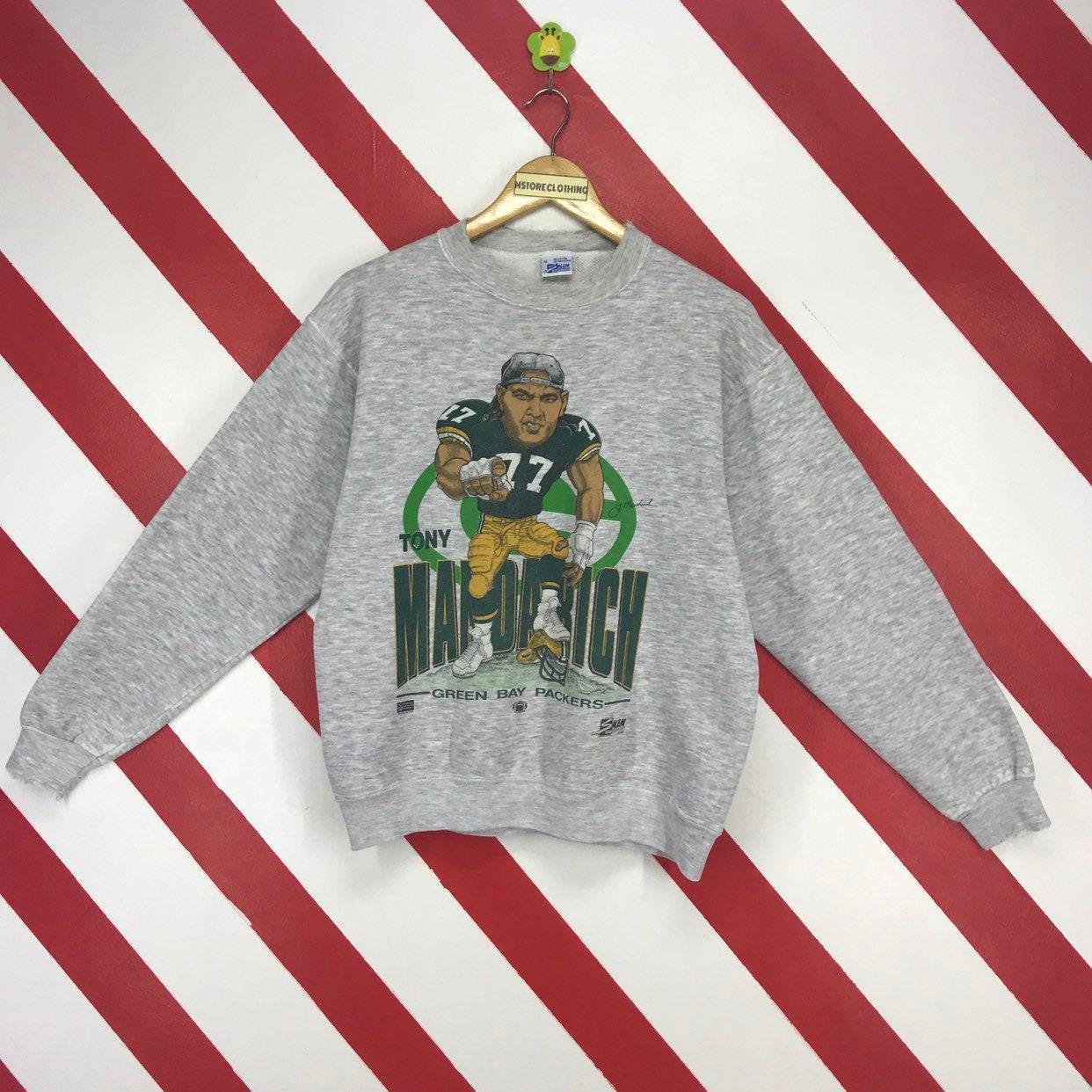 Vintage 90s Green Bay Packers Sweatshirt Tony Mandarich 77 NFL  ffbf7f626