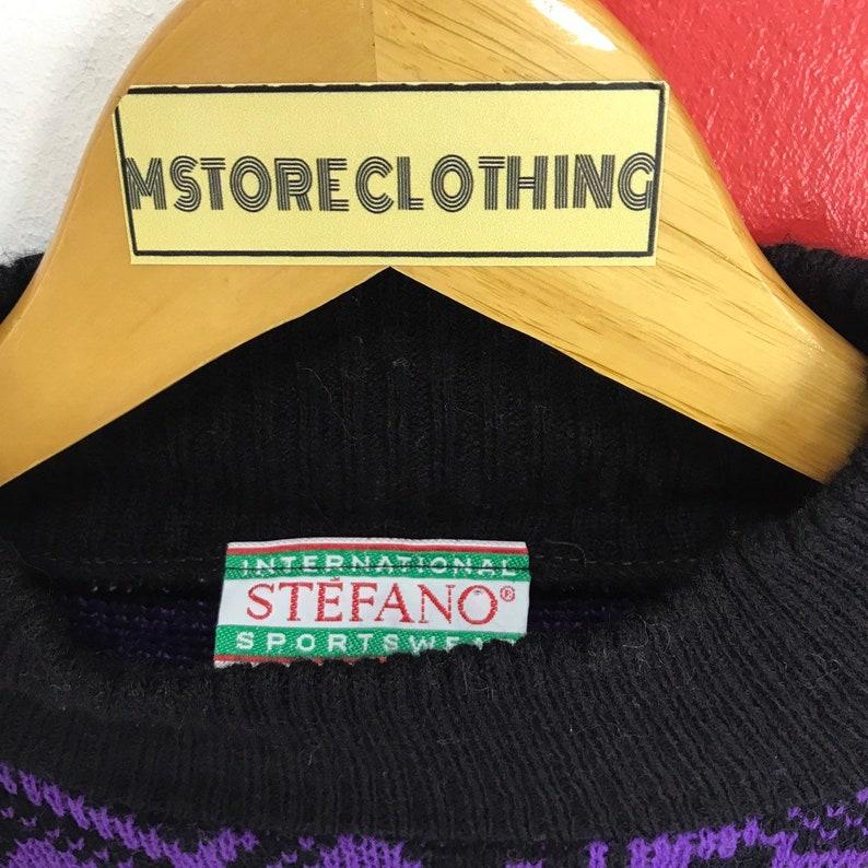 Vintage 90s Snowflake Knitwear Snowflake Style Knit Sweater Crewneck Knit Wool Boho Style Jumper Knit Women Sweater Black Purple Size Medium