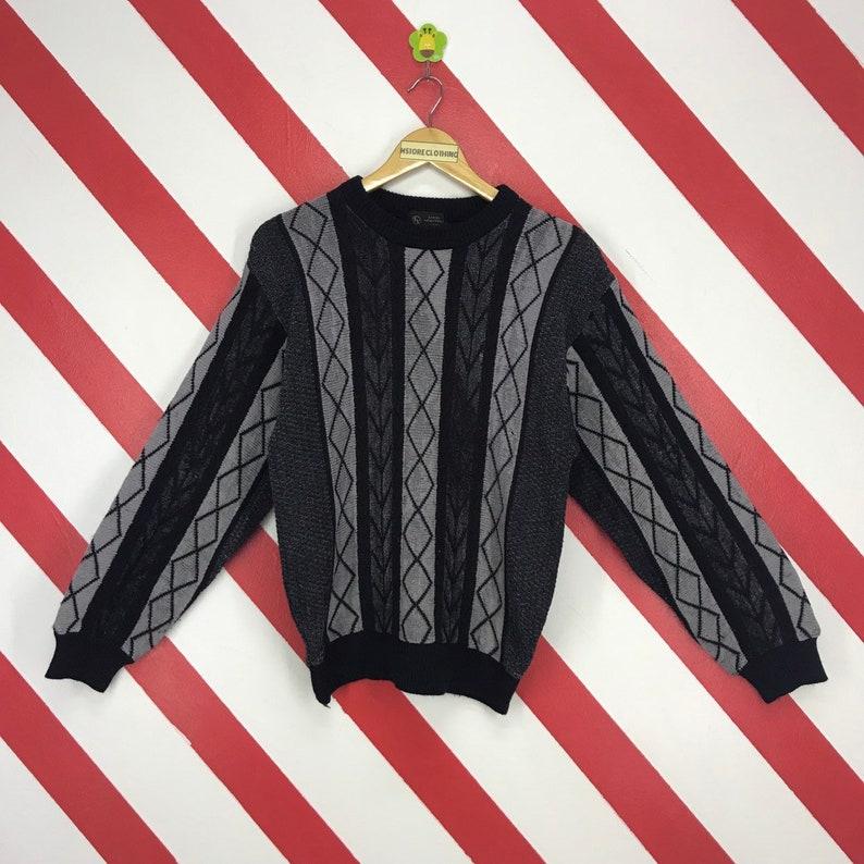 b5c3f89d714 Vintage Knitwear Unisex Sweater Crewneck Knit Wool Vertical Jumper Knit  Geometric Design Chunky Knit Coogi Style Black Size Medium