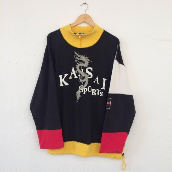 Vintage Embroidered Zip Kansai Kansai Sweater Large Half Sweatshirt Logo Yamamoto 90s Big Kansai Size Jumper Sport Kansai Multicolour rHBwvrZq
