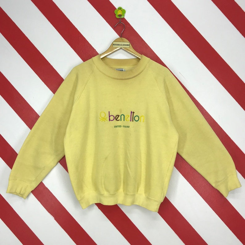 d931e35db3549 Vintage 80s United Colors Of Benetton Sweatshirt Crewneck Benetton Sweater  Yellow Colour Benetton Jumper Embroidery Logo Unisex Size Large