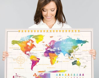 Scratch Off World Map | 50 US States | XL Europe  | Extra Large size 34 x 24 inches - Easy to Frame | Gift Tube Design | Travel with You